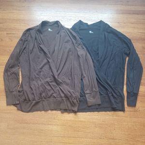2 Long Sleeve Cotton Front Wrap Tops   GAP   XXL